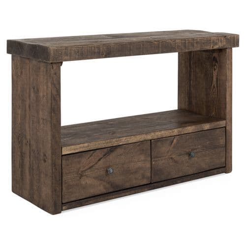 Derwent Rustic Solid Wood Console Table With Drawers - Solid Oak Console Table With Storage